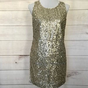 Forever 21 Gold Sequin Sheath Dress Small